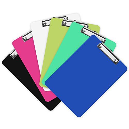Portapapeles de Plástico (Pack de 6) - Colorido Sujeta Papeles A4 con Resistente Resortey y Agujero para Colgarlo - Carpeta Clip Opaca Duradera Perfecta para Oficina y Escuela