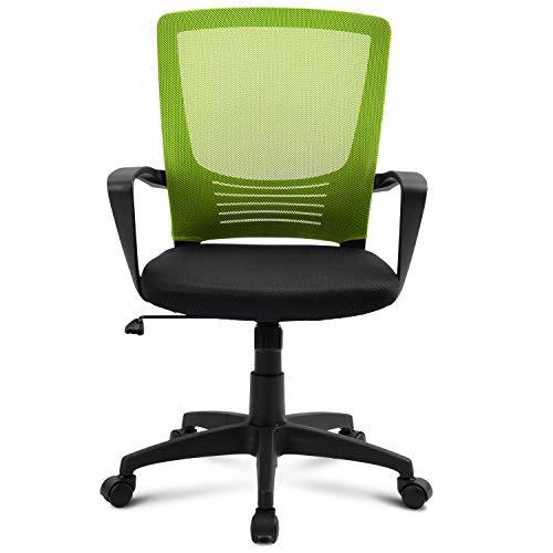 Merax - Silla de oficina giratoria con respaldo, altura regulable, reposabrazos y soporte ergonómico para cintura (verde)