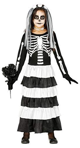 Fiestas Guirca Costume Sposa Scheletro cadavere Fantasma Zombie per Travestimento Horror Bambina