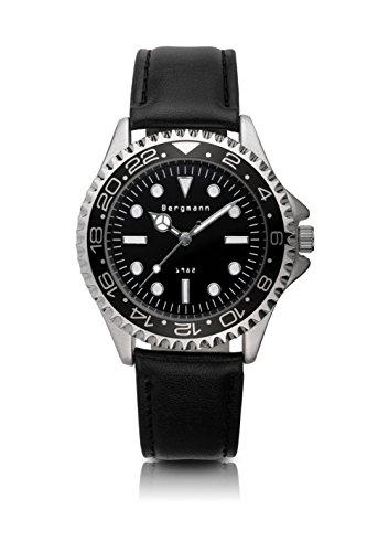 Original Bergmann-Uhr 1982 Herren Klassiker Quarz Leder Quarzuhr Edelstahlboden Bauhaus Modisch Elegant klassisch Design Zeitlos Unisex Direkt vom Hersteller