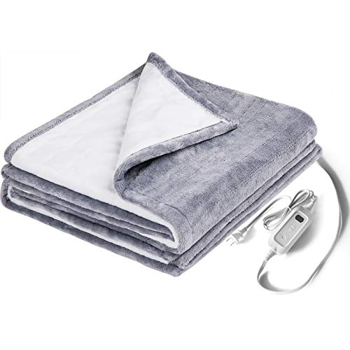 Heated Blanket Throw, HOKEKI Electric Throws with 3 Hours Auto Off & 6 Heat Settings,Flannel & Sherpa Mattress Pads,Machine Washable,Basic Size & Full Size, Gray (50' 60')