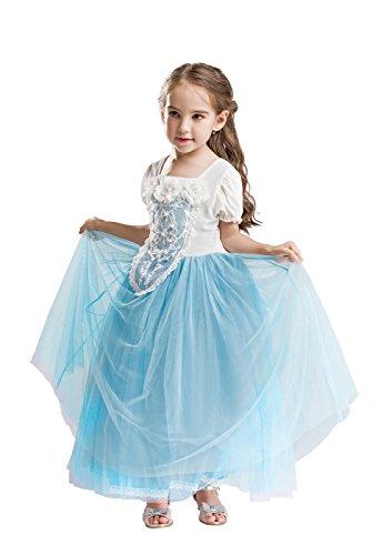 ELSA & ANNA® Mädchen Prinzessin Kleid Verrücktes Kleid Partei Kostüm Outfit DE-FBA-CNDR3 (3-4 Jahre - Size Code S, DE-CNDR3)