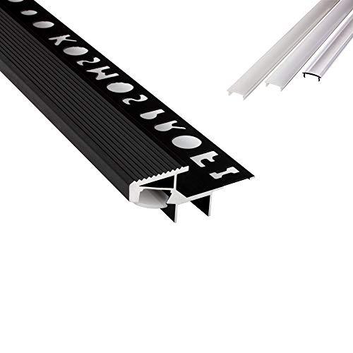 T-40 20° LED Alu Fliesenprofil Treppenprofil Stufen 12mm schwarz + Abdeckung Abschlussleiste Fliesen für LED-Streifen-Strip 2m opal