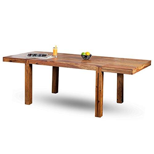 DESIGN DELIGHTS MODERNER ESSTISCH SHEESHAM | 120-200 cm, Massivholz | Sheesham Holztisch mit Ansteckplatten