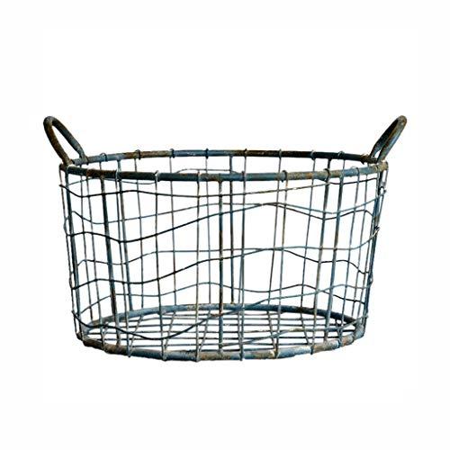 KKY-ENTER Iron Art Panier à linge Portable Ménage Simple Poubelle Sale Vêtements Sundries Intérieur Panier De Rangement Bleu Coffre à Linge (taille : 47 * 41 * 26cm)