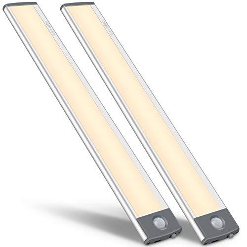54 LED detector de movimiento, luz de armario, luz nocturna recargable por USB, luz nocturna para armario, iluminación de cocina, sensor de luz cálida, 2 unidades