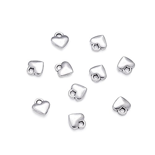 Beadthoven 100pcs Antique Silver Heart Pendants Tibetan Style Extender Chain Drops Charms for Making Choker Necklace Bracelet Earrings Jewelry DIY Accessories Lead Free Cadmium Free