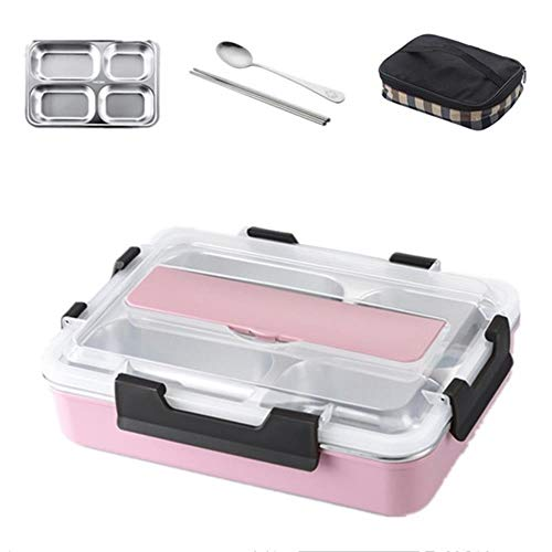 SPI Stainless Steel 304 Lunch Box with Compartment Spoon Leak-Proof Anti-scalding and Heat Preservation Lunch Bento Boxes Dinnerware Set Microwave Adult Children Food Container,Big Pink with Bag
