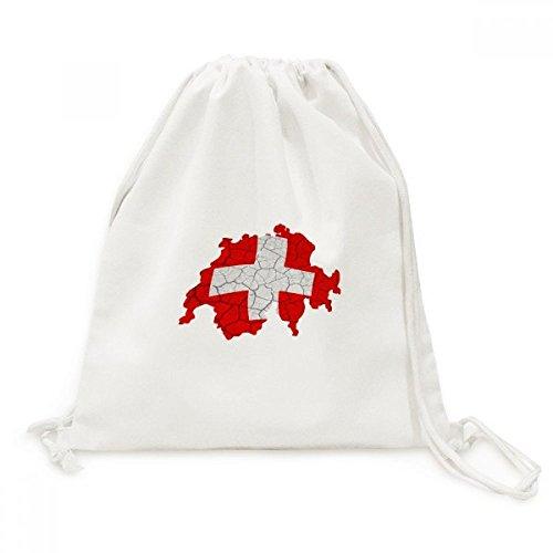 DIYthinker Kaart Zwitserland Abstract Vlag Patroon Doek Trekkoord Rugzak Reizen Shopping Tassen