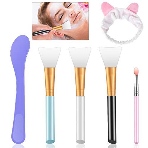 Maskenpinsel Silikon Gesichtsmask Pinsel Set Make-up Gesicht Bürste mit Haarbänd Lippenpinsel Rühren Maskenpinsel für Gesichtsmasken, Augenmasken, Serum, DIY