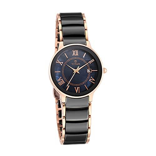 Titan Reloj analógico de cerámica para mujer con esfera negra -95016WD01