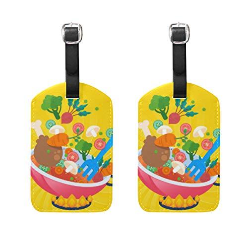 2 Stück lustige Cartoon-Gemüsetische Kochtopf Gasherd Gepäckanhänger Reiseetiketten Namenskartenhalter für Gepäck, Koffer, Rucksäcke