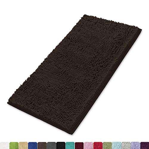MAYSHINE 24x39 Inches Non-Slip Bathroom Rug Shag Shower Mat Machine-Washable Bath Mats with Water Absorbent Soft Microfibers of - Brown