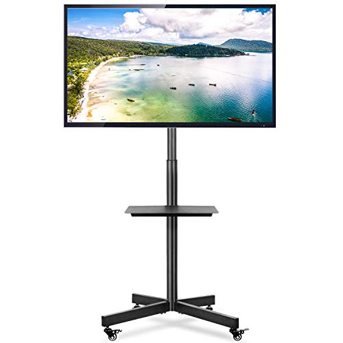 Rfiver Mobile TV Cart with Wheels Portable for 32 37 40 42 47 50 55 60 Inch LCD LED Plasma Flat Screen TVs Monitors up to 88lbs, Black Tall TV Floor Stand with AV Shelf, Max VESA 600x400mm