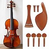 Crisist Piezas de violín Elegantes con mentonera Durable de Alta confiabilidad Piezas de violín de Palisandro Juego de Accesorios de 4/4, reparación para Tocar el violín
