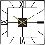 25 Inch Large Square Black Metal Wall Clock...