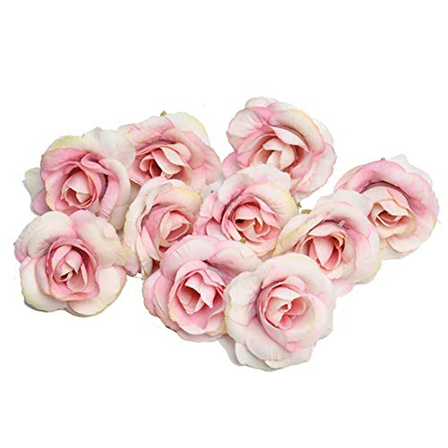 Flores artificiales modernas tiernas rosas falsas brotes artesanías flores artificiales de seda cabeza 3.5 x 4 cm DIY ramos de boda centros de mesa arreglo oficina hogar decoración jardín