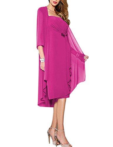 HUINI Brautmutter Kleider mit Jacke Wadenlang Chiffon Perlen Hochzeitskleid Abendkleid Ballkleid FestkleiderFuchsia