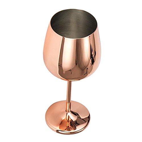 freneci Rotweinglas, bruchsichere Weingläser Weinkelch Champagner Kelch aus Edelstahl, unzerbrechlich, 500ml - Roségold