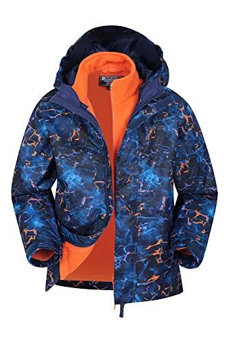 Mountain Warehouse Atom Chaqueta Impermeable 3 en 1 para niños - Costuras Selladas, de Lluvia, Capucha Desmontable, puños elásticos, microfelpa, antipildeo - para Viajar, Invierno Azul Marino 13 Años