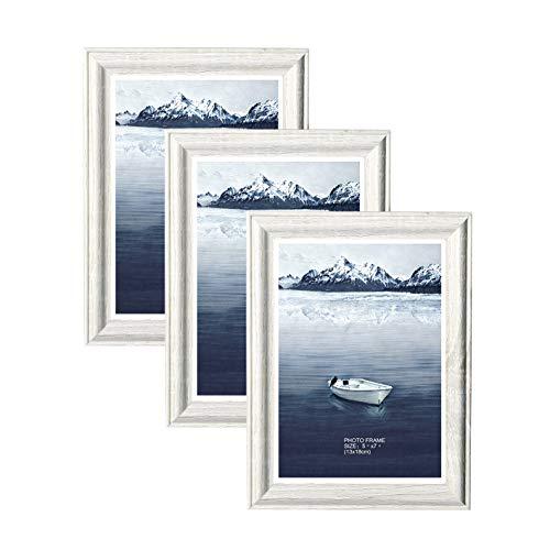 Metrekey 3er Set Bilderrahmen 13x18 cm weiß Holzmaserung aus MDF mit Echtglas Deko Fotorahmen für Foto Urkunden wandhängend oder freistehen