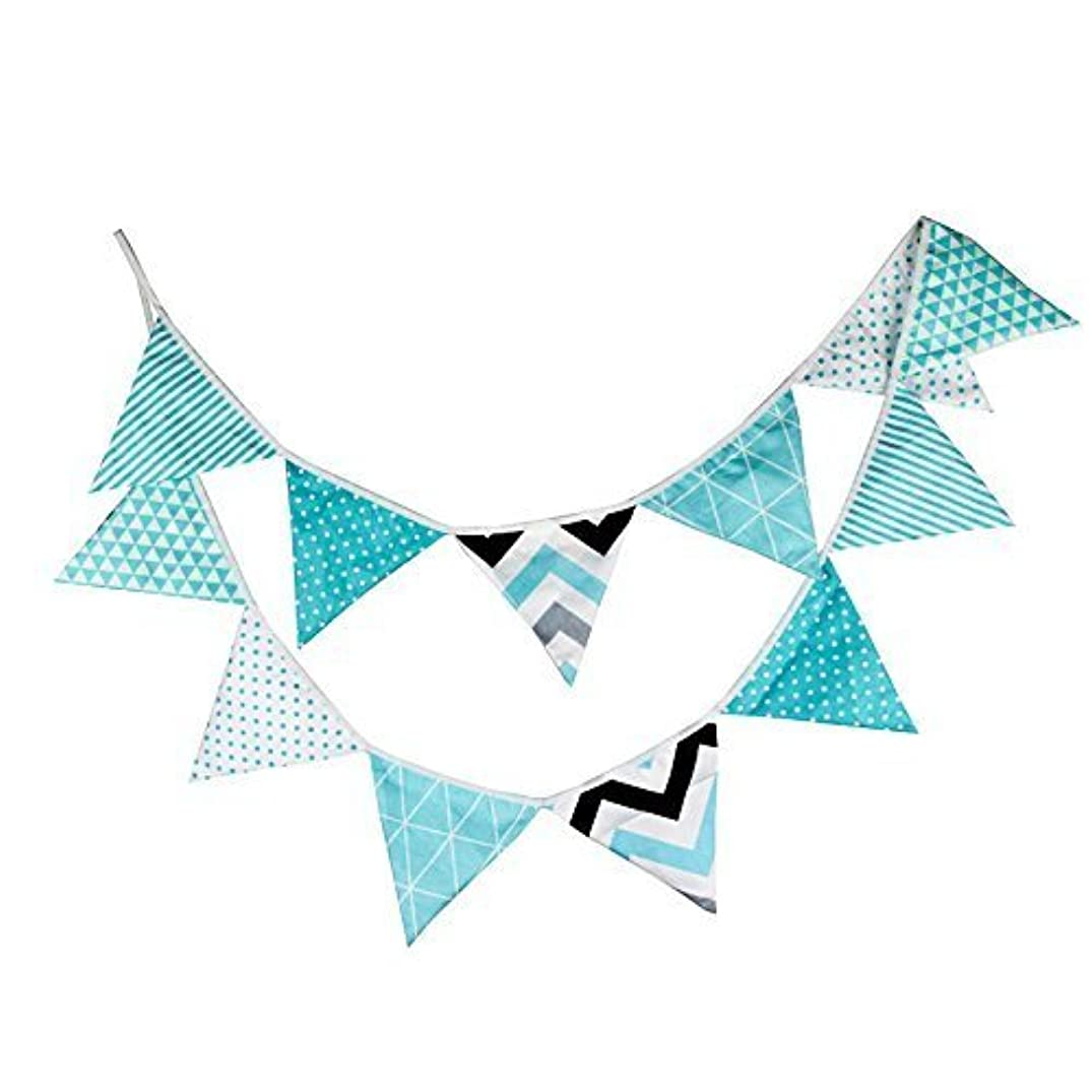 3.3M/10.8 Feet Turquoise Cotton Cloth Triangle Flag Banner Double Sided Pennant Bunting Banner for Christmas Halloween Wedding Birthday Party Decorations Garlands(Turquoise)
