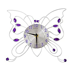 Home-X Metal Butterflies Wall Clock, Battery-Operated, 3D Analog Girls' Room Décor