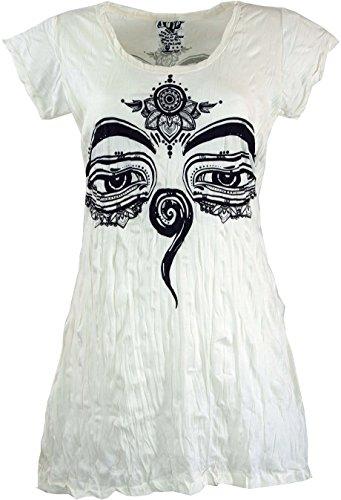 Guru-Shop, Tuurlijk Lang Shirt, Mini-jurkje Boeddha`s Ogen, Wit, Size:S (10), Bedrukte T-shirts `Sura