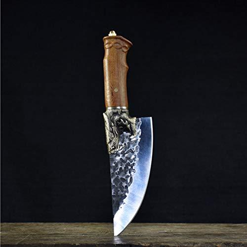FOOSKOO Hackmesser Hackbeil Messer Hand geschmiedet Küchenmesser Knochen Chopper Cut Dual-Purpose Retro Vintage Küchenmesser mit Schutzhülle Chinesisches Kochmesser