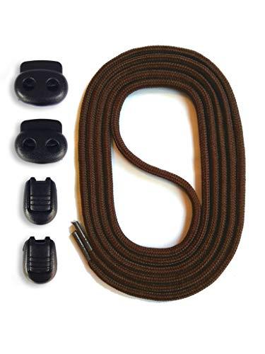 SNORS Schnürsystem - DUNKELBRAUN, 120cm - elastische Schnürsenkel mit Schnellverschluß -
