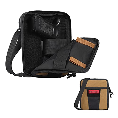 OneTigris Gun Bag for Handgun, Soft Pistol Case 1000 Nylon Molle Tactical Gun Holster Concealed Carry Gun Pouch Waist Bag with Pistol Magazine Storage Slot Belt Loops and Shoulder Strap
