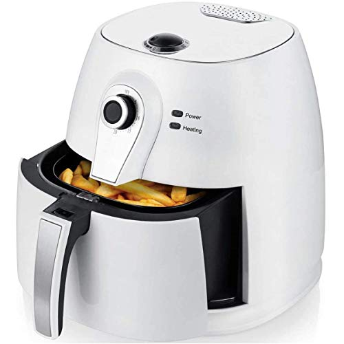 Ovente Electric Air Fryer 1400 Watt Power with Non-Stick Fry Basket & Grill Pan, 3.2 Quart Air Oven and Cooker with Temperature Control and 30 Minute Timer for Frying Baking Grilling, White FAM21302W