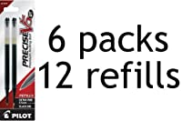 Pilot Precise V5 RT 液体インク詰め替え用 お得な2本入り6パック ノック式ボールペン用 極細 黒インク (77273)