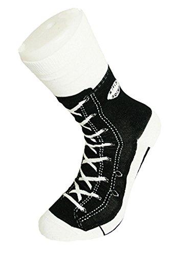 Sneaker Baseball Socken - Silly Socks im Sneakers Turnschuhe Stil (Schwarz)