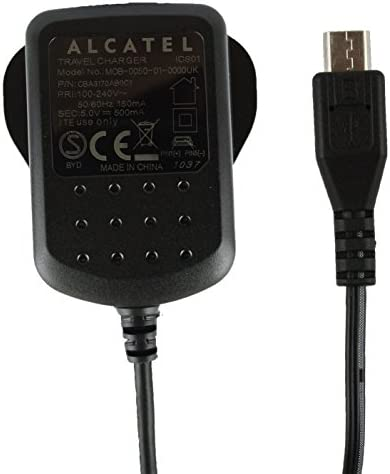 Genuine Alcatel Black 500 mAh 3 Pin Micro USB Mains Charger Suitable for Alcatel Pixi 3 ( 4.5 ), Pixi First & Pixi 4 ( 3.5 )