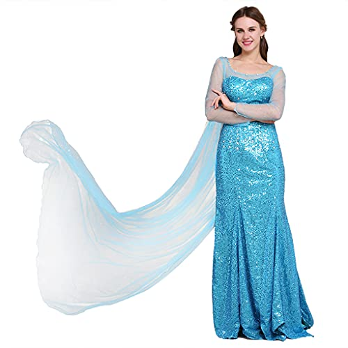 Fortunehouse Disfraz de princesa Elsa Cosplay boda bola vestido temático fiesta disfraz para Halloween