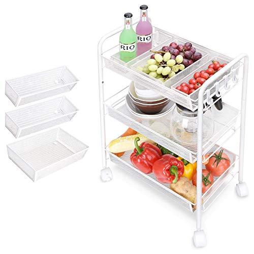 4 capas de carro de cocina práctica, carro de almacenamiento, con 1 bandejas de almacenamiento de malla, carro artesanal práctico, carrito de cocina es adecuado para cocina, dormitorio, baño,Blanco
