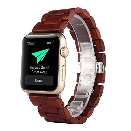 KTZAJO 2021 La última correa de reloj para Apple Watch Band calidad rojo sándalo material para Apple iWatch Series 3/2/1/4 42 40 44 38 mm - rojo - 44 mm (color: rojo, tamaño: 38 mm)