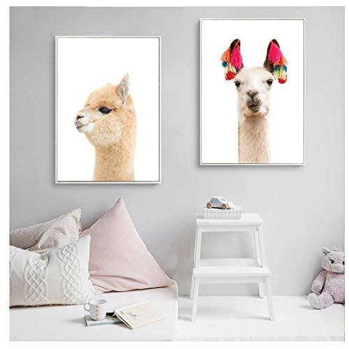 GUANGYE Home Decoration Leinwanddrucke Moderne Bilder Wandkunst Gemälde Lama Animal Nordic Style Poster für Wohnzimmer-40X60Cmx2 Pcs Kein Rahmen