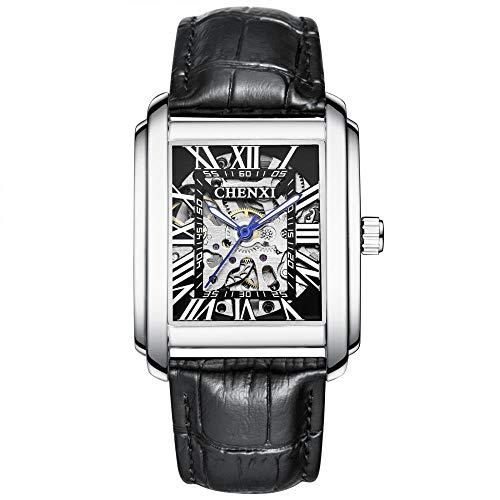 Smartwatches,Quadratische Mechanische Uhr Herren Lederarmband wasserdichte Hohle Zifferblatt Uhr, Weiße Schale Schwarzes Gesicht Schwarzer Gürtel