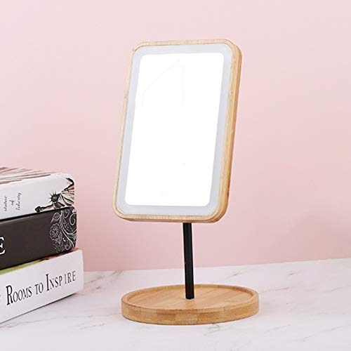 zzjj Mirror,makeup Mirror,Vanity Mirror With Light,Wooden Vanity Mirror Desktop Makeup Mirror Wood Frame Cosmetic HD Mirror Rechargeable LED Makeup Mirror With 3 Lighting Modes