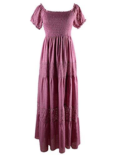 Anna-Kaci Damen Vintage Bauer Renaissance Spitze Kurarm Maxi Kleid, XXL, Pink