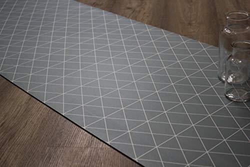 Comercial Candela Alfombra de Pasillo Vinilo Antimanchas, Lavable | Base PVC Antideslizante y Aislante Diseño Triangular (Gris, 52_X_100 CM)