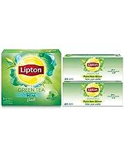 Lipton Green Tea Mint, 100 Tea Bags + Green Tea Non Bitter, 48 Tea Bags