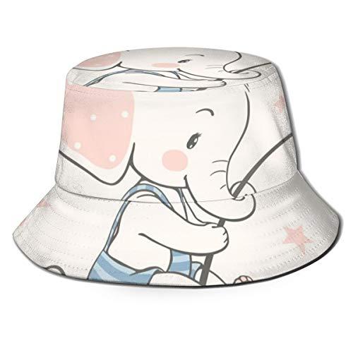MKH Indischer Elefanten-Hut aus Segeltuch, faltbar, Frühling und Sommer, für Reisen, Fischer, Strand, Sonnenhut Einheitsgröße Niedlicher Elefant mit Sternchen