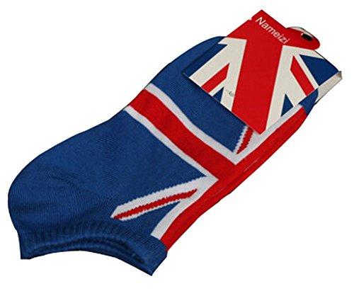 BLANCHO BEDDING Lot de 2 Flag Chaussettes en Coton Chaussettes pour Hommes Blanc Angleterre #01