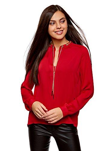 oodji Collection Mujer Blusa de Tejido Fluido con Decoración Metálica, Rojo, ES 36 / XS