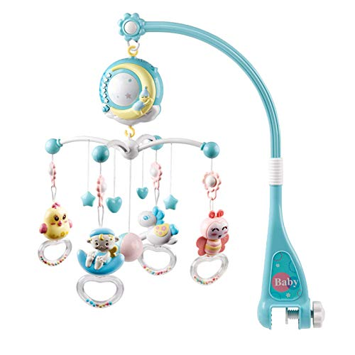 TANGTANGYI Baby Toy Bed Bell Ring 0-18 Months Music Bedside Bell Projection Comfort Gifts Education Learning Bright Color Toddler Newborn Children Play Cute