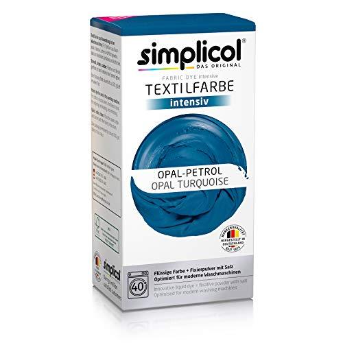 Simplicol Textilfarbe intensiv (18 Farben), Opal-Petrol 1811: Einfaches Färben in der Waschmaschine, All-in-1 Komplettpackung