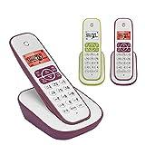 HONGYU-Teléfono Teléfono residencial inalámbrico con Molesto Interceptor de Llamadas y contestador Digital (Color : Pink 2)